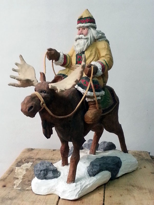 Santa Moose Wood Carving